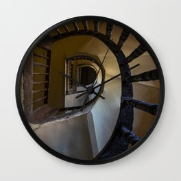 Pretty spiral wooden staircase Wall Clock