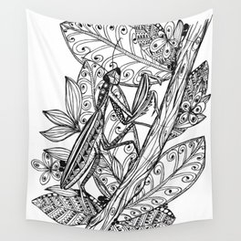 Praying Mantis in Ink Wall Tapestry