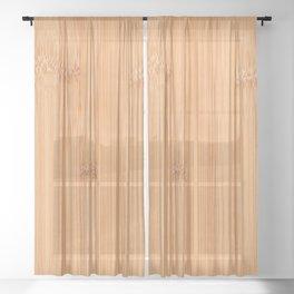 Cool elegant light brown bamboo wood print Sheer Curtain