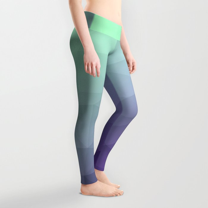 Purple green ombre gradient geometric mesh Leggings