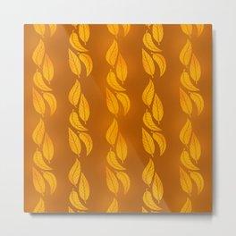 Autumn Orange Tangerine Leaves  Metal Print