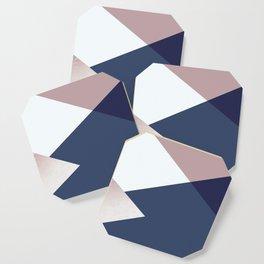 Geometrics - blush indigo rose gold Coaster