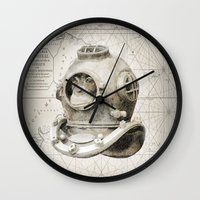 scuba Wall Clocks featuring scuba diving by Luiz Fogaça
