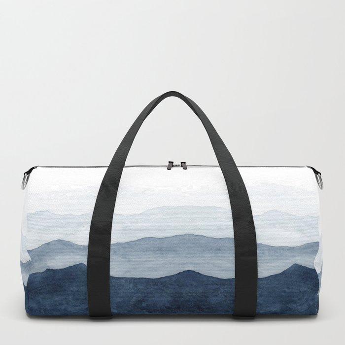Indigo Abstract Watercolor Mountains Duffle Bag