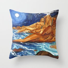 Moon Bathing Babes - Watercolor painting of Earth and Ocean Goddesses Throw Pillow