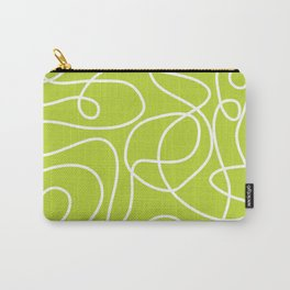 Doodle Line Art   White Lines on Bright Lime Green Carry-All Pouch