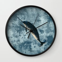 """""""Jackson the Narwhal"""" by Amber Marine ~ Art (Copyright 2015) Wall Clock"""