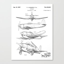 Wedberg Airplane Patent - Us Air Force Art - Black And White Canvas Print