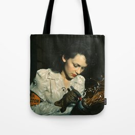 WWII Woman Aircraft Worker Tote Bag