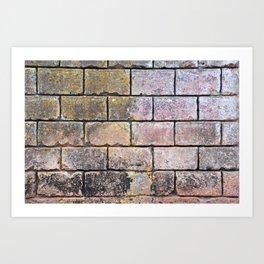 Brick Mason Masonry Old Wall Cuba Distressed Vintage Chippy Paint Caribbean Abstract Decor Art Print