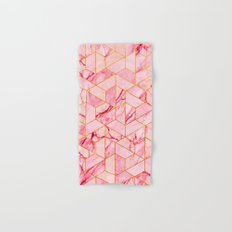 Pink Marble Hexagonal Pattern Hand & Bath Towel