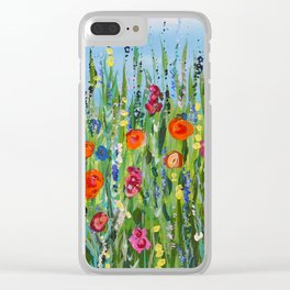 Wildflower Meadow2, Abstract Floral Art, Flower Field Clear iPhone Case