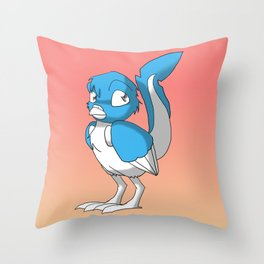 Light Blue/Color-Or-Paint-Your-Own Reptilian Bird 2 #ArtofGaneneK #Animal Throw Pillow