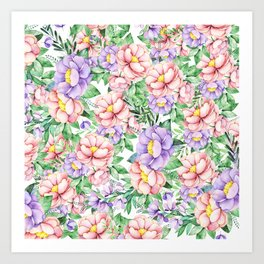 Hand painted lavender coral green watercolor floral Art Print