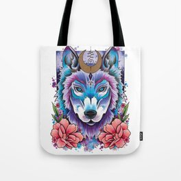 Neo Traditional Moonlight Wolf Tote Bag