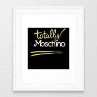 moschino Framed Art Prints featuring Totally Moschino Black by RickyRicardo787