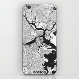 Boston Map Gray iPhone Skin