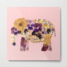 Floral Elephant - pink Metal Print