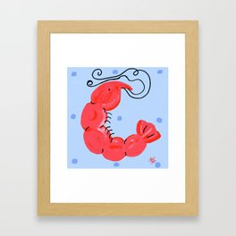 Whimsical Shrimp Beach Art Framed Art Print
