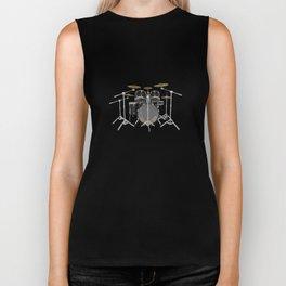 Black Drum Kit Biker Tank