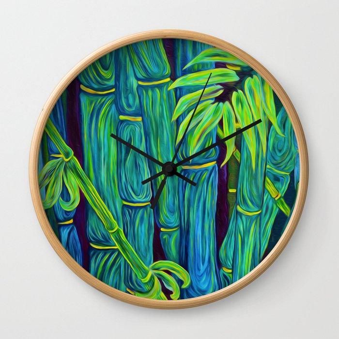 ʻOhe Polū - Blue Bamboo Wall Clock