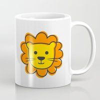 lion king Mugs featuring Lion & King by Jane Mathieu