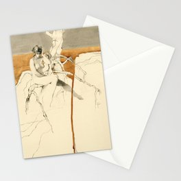 Nude Female Figure Drawing and Tree with Copper Grey Watercolour Stationery Cards