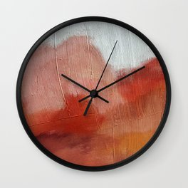 Desert Journey [2]: a textured, abstract piece in pinks, reds, and white by Alyssa Hamilton Art Wall Clock