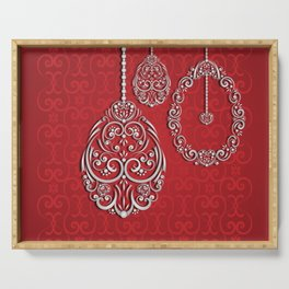 Silver lace hanging eggs on vibrant red background Serving Tray