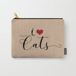 I Heart Cats featuring Spring 2017 Pantone Color Hazelnut Carry-All Pouch