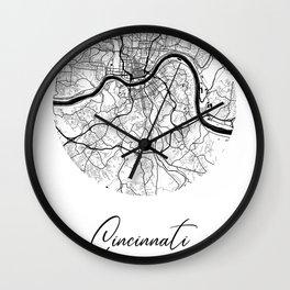 Cincinnati Area City Map, Cincinnati Circle City Maps Print, Cincinnati Black Water City Maps Wall Clock