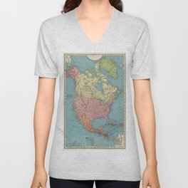 Vintage Map of North America (1903) Unisex V-Neck