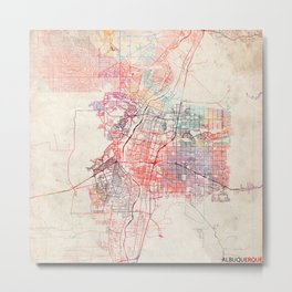 Albuquerque map New Mexico painting square Metal Print