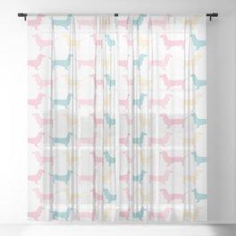 Pastel Dachshund Pattern Sheer Curtain