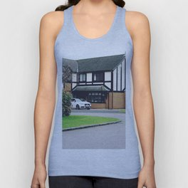 Luxury residential house with green hedge and landscaping in front. Unisex Tank Top