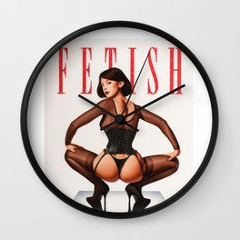 Fetish Retro Illustration, Tight G String and Attitude Wall Clock