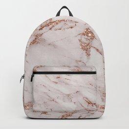 Trendy elegant rose gold glitter gray marble Backpack