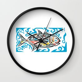 Giant Trevally Side Tribal Art Wall Clock