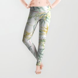 Modern chic pastel blue yellow watercolor floral Leggings