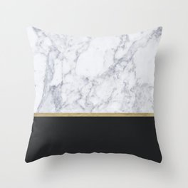 MARBLE GOLD BLACK Throw Pillow