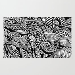 Black and White Doodle Art #1 Rug