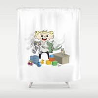 pacific rim Shower Curtains featuring Baby Pacific Rim by Bady Church