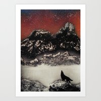 The Wolf and the Snow Art Print