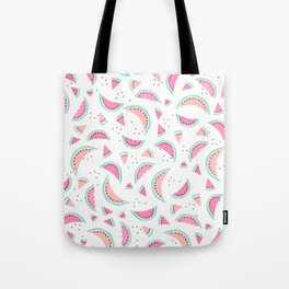 Modern summer pastel pink coral turquoise hand drawn watermelons fruits pattern Tote Bag