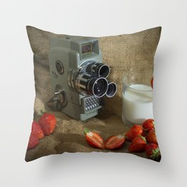 Sekonic and Strawberries Throw Pillow
