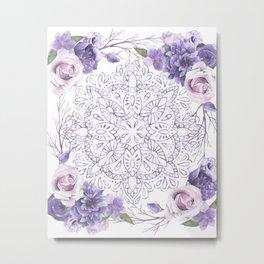 Mandala Rose Garden Lavender Purple Violet Metal Print