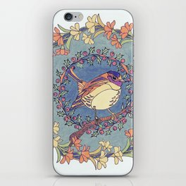 Small Bird With Wildflowers And Holly Wreath iPhone Skin