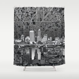 indianapolis city skyline black and white Shower Curtain