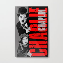 Charlie Chaplin and the little girl apple iPhone 4 4s 5 5s 5c, ipod, ipad, pillow case and tshirt Metal Print