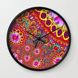 BOHEMIAN  FUCHSIA FLORALS  IN RED-YELLOW COLOR ART Wall Clock